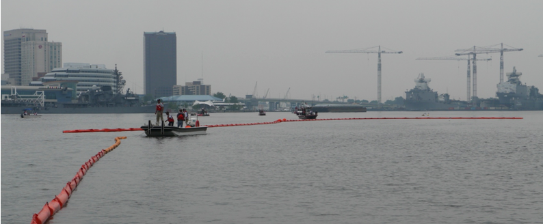 practicing placement of boom to capture oil spill in Elizabeth River