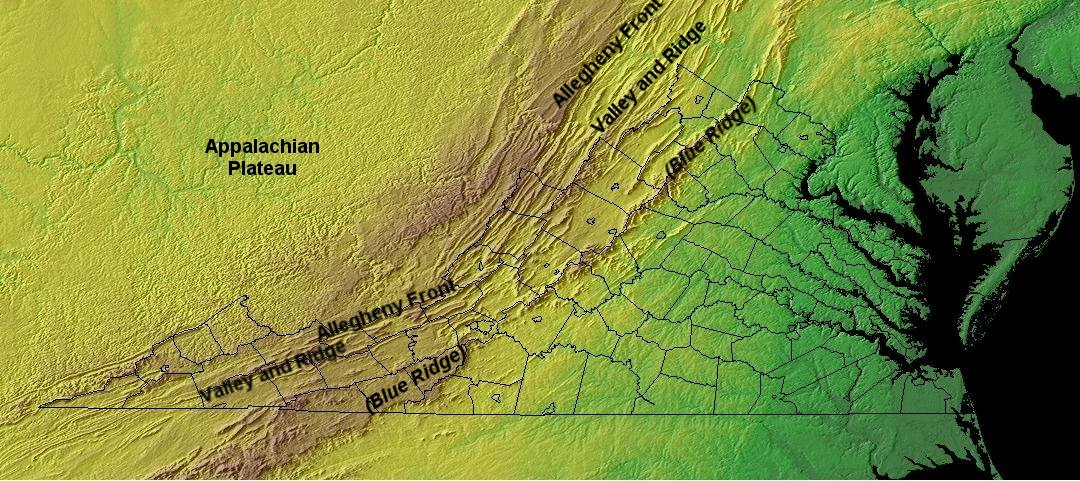 Virginia topography and geology defines pysiographic provinces, but people can define regional boundaries by cultural as well as physical patterns