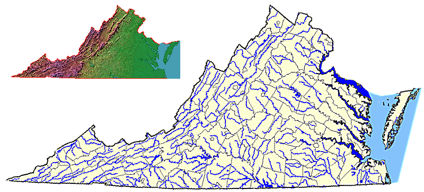 Virginia county/city boundaries and major rivers