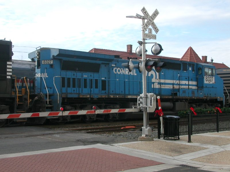 locomotive of Conrail, a fallen flag railroad, at Manassas train station