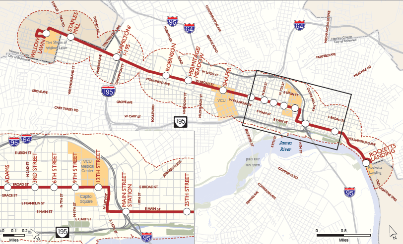 Richmond chose to use a Bus Rapid Transit (BRT) system rather than light rail to expand transit service between downtown and the wealthy West End suburbs