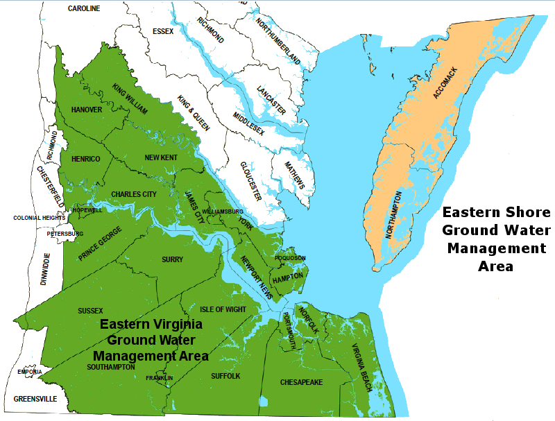 prior to 2014, the Eastern Virginia Ground Water Management Area was limited to the southern portion of the Coastal Plain