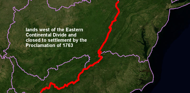 the Proclamation of 1763 defined a boundary blocking settlement (red line), based on the Eastern Continental Divide