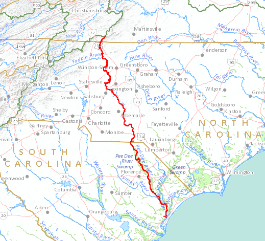 by walking over 350 miles upstream from the Atlantic Ocean via what is now called the Pee Dee River in South Carolina, the first group of Paleo-Indians could followed the Ararat River into Virginia 15,000-20,000 years ago