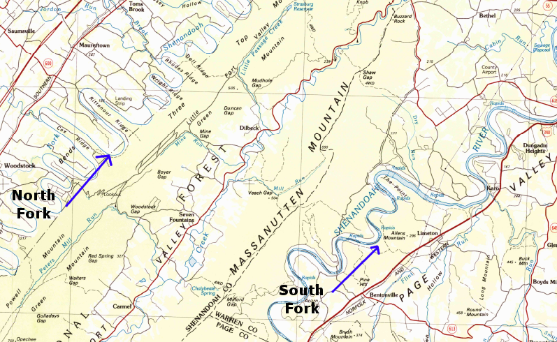 two forks of the Shenandoah River flow north on opposite sides of the Massanutten Mountain